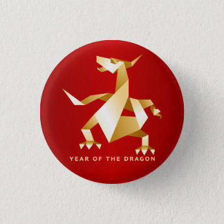 Gold Origami Year of the Dragon on Red 3 Cm Round Badge
