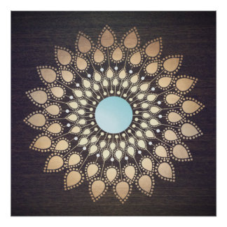 Gold Ornate Lotus Mandala Art Poster
