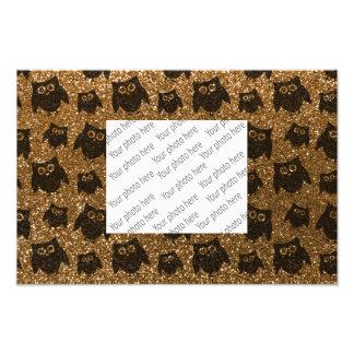 Gold owl glitter pattern art photo