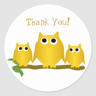 Gold Owl Thank You Stickers