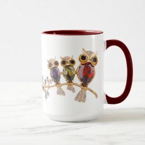 Gold Owls Jewels & Diamonds Mug