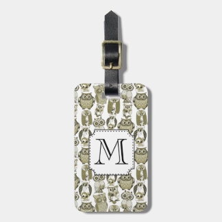 Gold Owls Monogram Luggage Tag