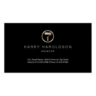 Gold Paint Roller Icon Painter Business Card