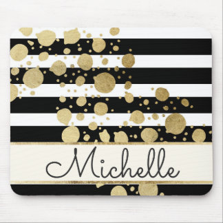Gold Paint Splatter Black White Stripes Monogram Mouse Mat