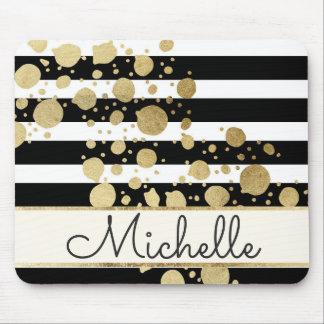 Gold Paint Splatter Black White Stripes Monogram Mouse Pad
