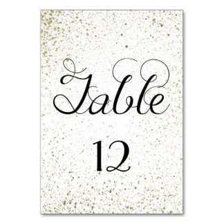 Gold Paint Splatter table number