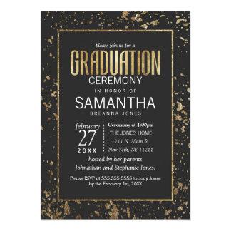 Gold Paint Splatters Graduation Ceremony 13 Cm X 18 Cm Invitation Card