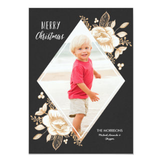 Gold Painted Flowers Christmas Holiday Photo Geo 13 Cm X 18 Cm Invitation Card