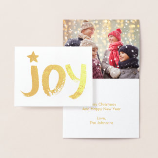 Gold Painted Joy | Christmas Foil Photo Note Card