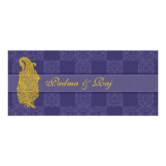 Gold Paisley and Blue Wedding Invitations