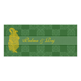 Gold Paisley and Green Wedding Invitations