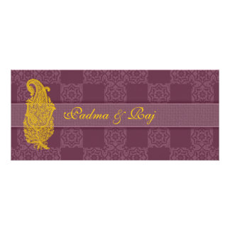 Gold Paisley and Mauve Wedding Invitations