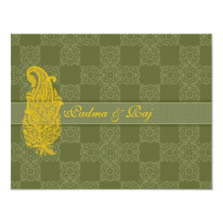 Gold Paisley and Olive Wedding Invitation RSVP