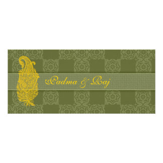 Gold Paisley and Olive Wedding Invitations