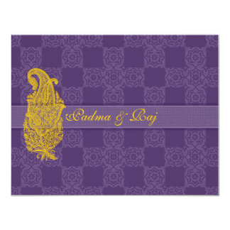 Gold Paisley and Purple Wedding Invitation RSVP