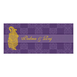 Gold Paisley and Purple Wedding Invitations