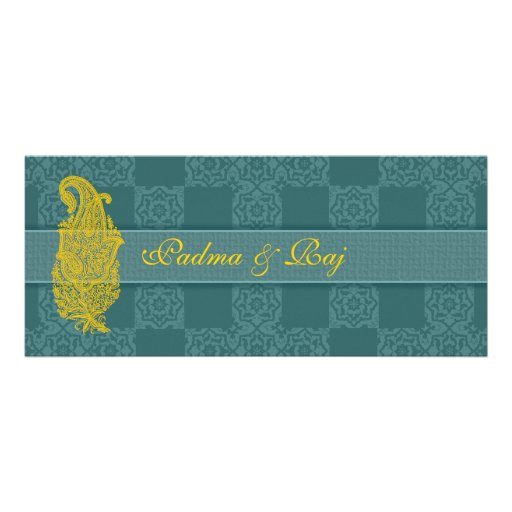 Gold Paisley and Teal Wedding Invitations