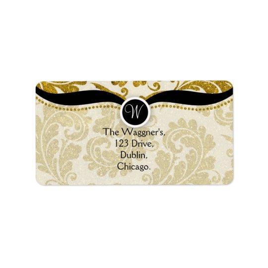 Gold Paisley Damask Postage Address Labels