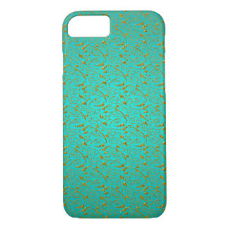 Gold Paisley Design on Turquoise iPhone 8/7 Case