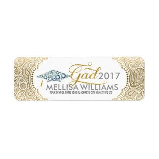 Gold Paisley Diamonds Grad hat & Modern Typography