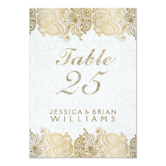 Gold Paisley Lace On White Table Number Card