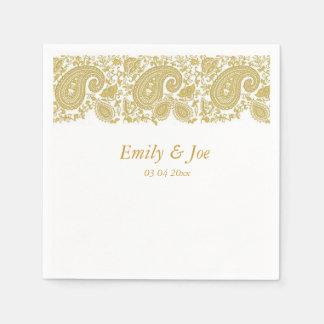 Gold  paisley lace wedding disposable serviette