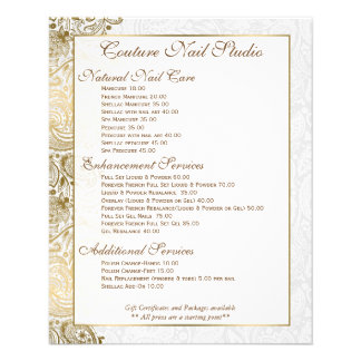 Gold paisley Lace White Background 11.5 Cm X 14 Cm Flyer