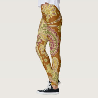 Gold Paisley Leggings