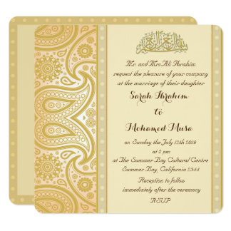 Gold Paisley Muslim wedding Card