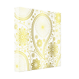 Gold paisley pattern canvas print