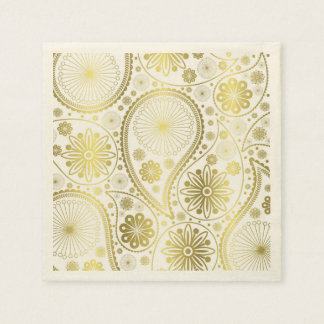 Gold paisley pattern disposable napkin