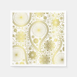Gold paisley pattern disposable serviette