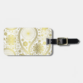Gold paisley pattern luggage tag