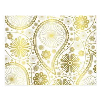 Gold paisley pattern postcard