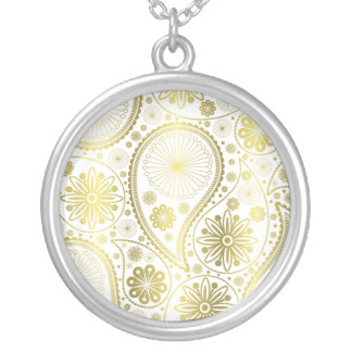 Gold paisley pattern silver plated necklace