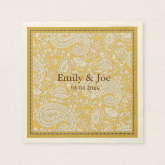 Gold paisley wedding disposable napkin