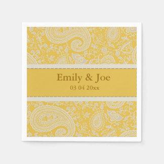 Gold paisley wedding paper napkin