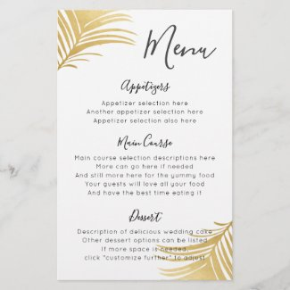 Gold Palm Beach Destination Wedding Reception Menu
