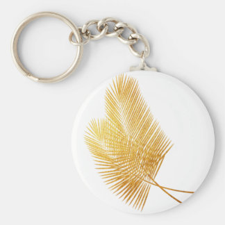 Gold palm leaf tropical keychain