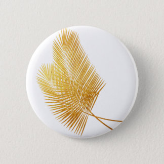 Gold palm leaf tropical round button