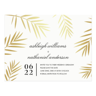Gold Palm Leaves on White | Save The Date Photo Postcard