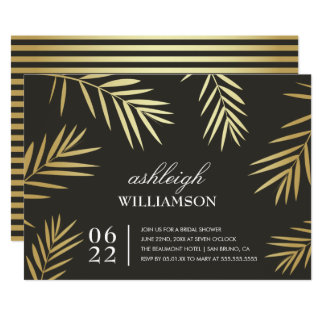 Gold Palm Leaves | Tropical Bridal Shower Card