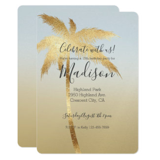 Gold Palm Tree Ombre Card