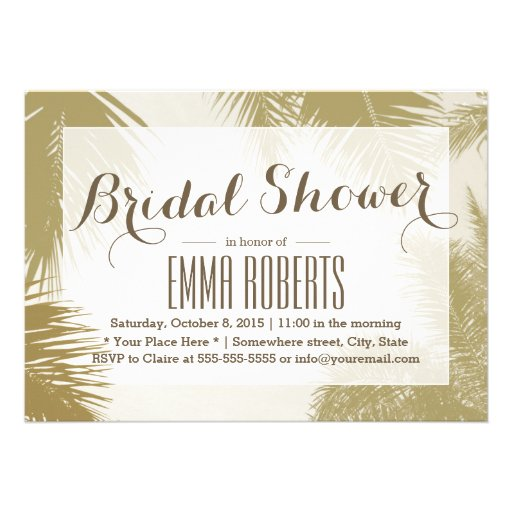 Gold Palm Tree Tropical Bridal Shower Personalized Announcement