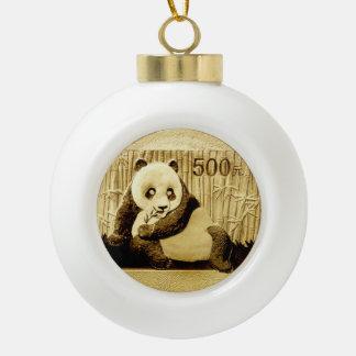Gold Panda coin Ceramic Ball Decoration