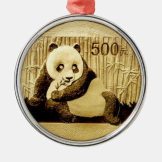 Gold panda coin christmas ornament
