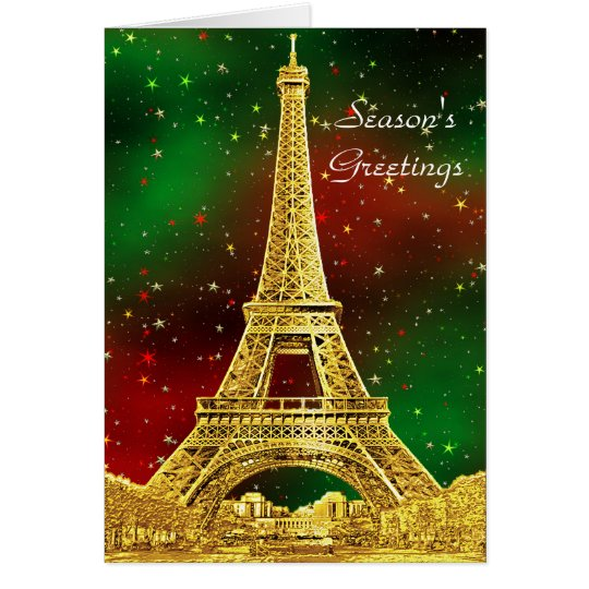 Gold Paris Skyline #2 Christmas Starry Card
