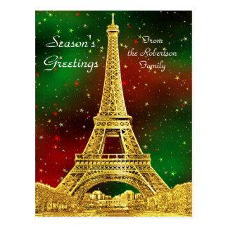 Gold Paris Skyline #2 Christmas Starry Postcard