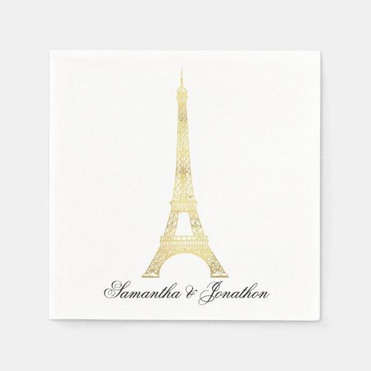 Gold Parisian Eiffel Tower Wedding Custom Napkins Paper