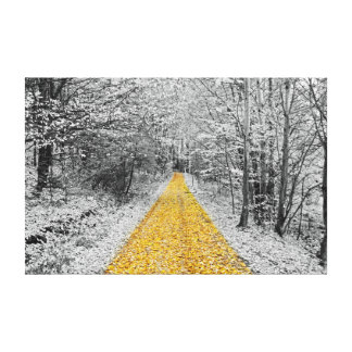 Gold Path Winter Scenery wrapped canvas